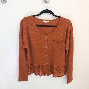 Rust Orange Waffle Knit Sweater size Large
